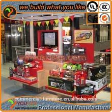 Toy car display and retail kiosk square shape 3 tiers spotlight lighting