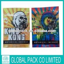 best sale rainbow king kong ziplock herbal incense bags 3g 10g