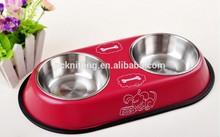 Two Bowls + Iron Shelf 34.5*9*4.5cm Anti-Skidding Pet Bowls Dog Bowls Pet Products for Dog MOQ:100sets
