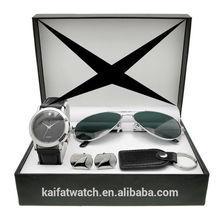 leather strap fashion watch, hot sales gentlemen watches,OEM logo watch set