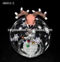 Deer Head on Top Hand Blown Clear Glass Globe