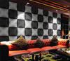 simple style black and white geometric pattern design 3d wallpaper for KTV bar