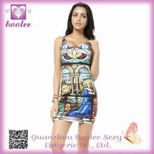 Western religious paintings print pencil dress High fashion dress 2014