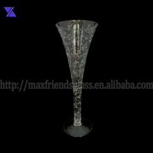 clear glass vase w/white flower decal hand made