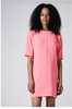New Style Fashion Women Short Sleeve Crepe Textured Seam Front Tunic Dress