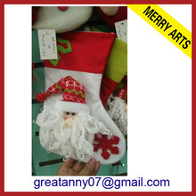yiwu china factory promotion 2014 sexy christmas stocking red and white with santa decorated