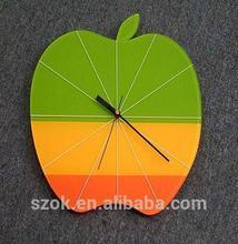 elegant colorful acrylic custom apple shape clocks for decoration hot selling