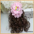Children feather flower hair accessories with fake hair
