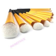 10 pcs gold color aluminum make up brush, black plastic handle makeup brush set