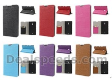 Wood Grain Leather Skin Stand Case for Nokia Lumia 1320 PU Leather Flip Case with 6 Colors