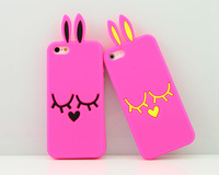 Beautiful phone accessories rabbit 3D silicone cover for iPhone 5 5s with cheaper price