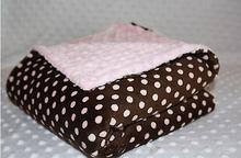Handmade by Lil' Cub Hub, Multi-Purpose Brown Pink Polka Blanket Coral Fleece
