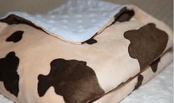 Handmade by Lil' Cub Hub Multi Purpose Cow Blue Minky BlanketsCoral Fleece