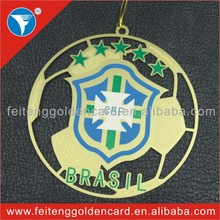 New Idea Hottest Metal Ornament Manufacturing Popular Brazil World Cup 2014 Promotion Gifts with Football Shape