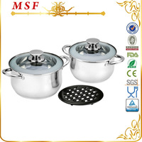 5pcs stainless steel 20cm & 24cm thermoware casserole with a black bakelite heat-resistant mat