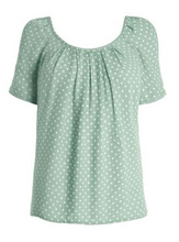 New Design Short Sleeve Dots Print Bow Back Lady Tops