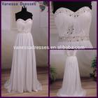 Wholesale Price Elegant Beaded Sweetheart Long Chiffon Real Wedding Dress Sample