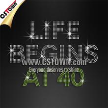 Life begins at 40 machine cut hotfix rhinestones transfer pattern