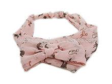 Hot Fashion Women Chiffon Mini Cat Print Knit Headband Hairband Hair Band Turban Headwrap