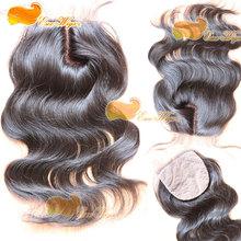 New style silk base closure J part closure 100 brazilian virgin hair body wave natural color density 120% in stock