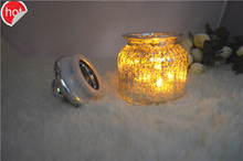 custom- made 3 sizes mercury glass candle jars with glass lid wholesale