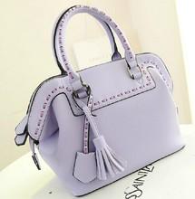 2014 latest pu brand fashion women tote bag with tassel