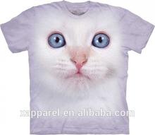 Cat tshirt white kitten face printed t-shirts 3D Animal printing t shirt