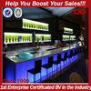 Modern and popular LED lighting wooden night club bar counter design