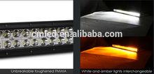 "20"" CREE LED Light Bar AMBER / WHITE COMBO RZR Ranger Teryx Rigid Rhino Can Am"