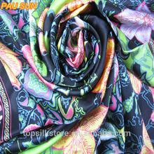 Lady beautiful flower printed pure silk turkey printed scarf