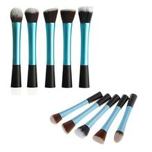 5pcs/set blue Powder Blush Brush Facial Beauty Cosmetic Stipple Makeup Tools