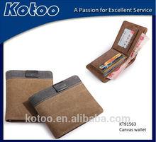 2014 Popular retro leather canvas men's wallet/canvas wallet for men