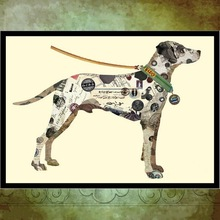 PE002 Dog Wall Art Collage Paper Decor Animal Oil Painting for Hotel