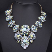 2014 women's fashion magazine star with Blue Color Gemstone flower short necklace clavicular retro exaggerated female ornaments