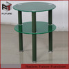 small round glass and metal side table