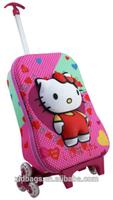 Children travel trolley luggage bag,hello kitty school bag trolley wholesale