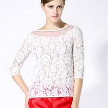 NK1012 famous brand women lace blouses sexy lace organza lady tops elegant blouse