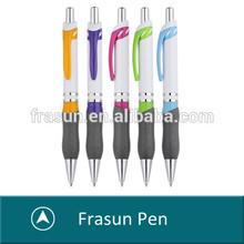 plastic pens for promotion/white plastic pen/rubber grip plastic ball pen