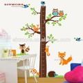 Grande albero e volpe stampato altezza di misurazione autoadesivo della parete per i bambini, pelabile parete decalcomania