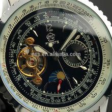 Men's Black Tourbillon Stainless Steel Mechanical Watch WM281