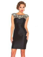 Regal Elegant Fitted Sheath Elaborately Hand Beaded Crystal Beauty Neck Overlay Keyhole Back Sexy Cocktail Dress