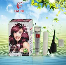 Grape Red Hair Dye Safe for Family Use Long Lasting Effect Hair Color Cream