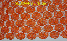 Wholesale orange lace embroidery fabric water soluble african lace fabric SL10044 orange