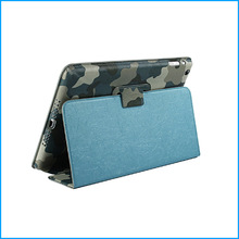 Blue camouflage Soft and close fitting pu case for ipad air
