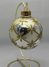 Glass ball ornament - silver plated with golden line