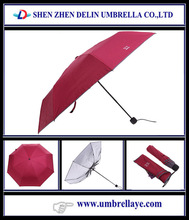 All hot selling windproof UV coating 3 foldable cheap umbrella for 1