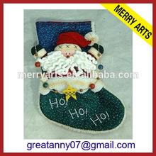 "20"" promotional fleece 3D santa decorative christmas stocking with applique embroidery logo"