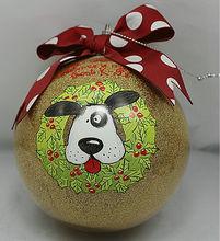 Glass ball ornament lovely dog
