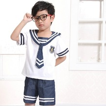 Boy children sailer pattern summer school uniform clothes