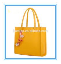 surprisingly cheap yellow hanging flower folding ladies promotion shopping bag 2014 leather handbag china